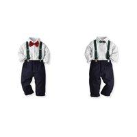 meninos suspender camiseta venda por atacado-Crianças meninos Conjunto de Roupas Listrado Bolso Camisa Tie Suspender Calças Sólidas Algodão Crianças Roupas de Grife Outfits 2-6 T 08