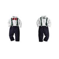 t-shirt jarretelles garçons achat en gros de-Enfants garçons vêtements ensemble rayé poche chemise cravate jarretelle pantalon solide coton enfants vêtements de créateurs tenues 2-6 t 08