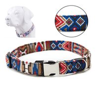Wholesale metal dog collars resale online - Fashion Ethnic Style Pet Collar S M L XL Polyester Dog Collar With Metal Buckle Adjustable Large Dog Puppy Collar Pet Product DBC VT0839