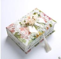 кружевные ящики для хранения оптовых-Lace Jewelry Storage Box Earring Ring Organizer Creative Fashion Wooden Jewelry Case Girl Women Necklace Bracelet Container