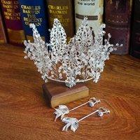 ingrosso accessori per capelli nuziali oro-Lussuoso oro argento perline da sposa corona orecchino imposta donne gioielli eventi formali corone accessori per capelli set di Bling Bling abiti da festa