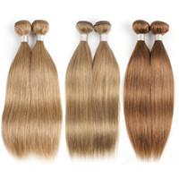 sarışın insan brazilian saç uzatma toptan satış-Renk 27 Bal Sarışın Brezilyalı Düz Saç 3/4 Paketler İnsan Saç Dokuma Brezilyalı Virgin Saç Düz Uzantıları Renk 8 Renk 30