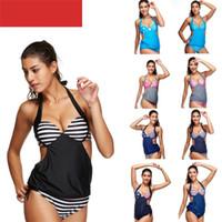 ingrosso bikini piccolo torace-Summer Seaside Bikini Sexy Double Shoulder Strap Costume da bagno Small Petto raccolto Donne Swim Wear Quick Drying Blu 27ss C1