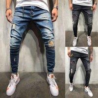 jeans para pernas magras venda por atacado-2019 Moda Masculina Stretchy Rasgado Jeans Skinny Motociclista Destruído Gravado Slim Fit Calças Leg Denim