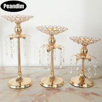 Wholesale table flower vases for sale - Group buy PEANDIM Gold Crystal Candle Holder Wedding Decoration Table Centerpieces Candelabra Birthday Party Flower Vase Holder Home Decor