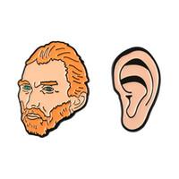 ingrosso orecchio duro-Van Gogh Testa Orecchio Spilla Cartoon Artistico Distintivi In Metallo Dello Smalto Duro Pin Risvolto Decor Panno Cappotto Denim Cappello Accessorio Dei Monili di Modo Regalo