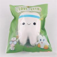 kawaii squeeze spielzeug großhandel-Neuheit Squishy Zahn Slow Rising Kawaii 10,5 cm Soft Squeeze Cute Handy Strap Toy Geschenk für Kinder Dekompressionsspielzeug