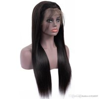 Wholesale glueless full lace wigs natural look resale online - Long straight natural looking hair glueless lace front wi full hair lace wig for african americans woman inch heat resistant