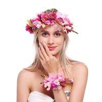 analık baş bantları toptan satış-Ayarlanabilir Çiçek Taç ve Bilezik Seti ile Muhteşem BOHO bandı Bilek Bandı kadınlar için düğün festivali analık aile resimleri
