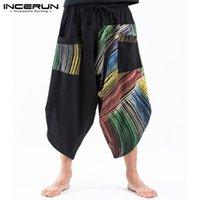 elastik şeritler toptan satış-INCERUN Tay Etnik Renk Erkekler Streetwear Şerit Retro Bohomia Baskılı Geniş Bacak Rahat Elastik Bel Hiphop Gevşek Harem Pantalones
