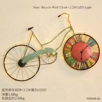 ingrosso orologi da parete moderni-Orologio da parete moderno retrò Orologio da parete 3d grande bicicletta di ferro Orologio moderno design creativo appeso in metallo digitale