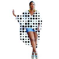 gevşek yarım uzun kollu gömlek toptan satış-SıCAK SATıŞ Kadın V Boyun Yarım Kollu Gevşek Asimetrik Tees 2019 Baskılı Eklenmiş Casual T Shirt Yaz S-XXL Boyutu Uzun Tops
