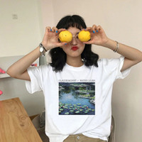 Wholesale water lily paintings for sale - Group buy Painting Water Lilies T Shirt Ladies Summer Tops Tees Tumblr Graphic Shirts Art Aesthetic Short Sleeve White Tshirt