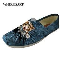 tierdrucke großhandel-WHEREISART 2019 Women Casual Flats Schuhe Cute Denim Animal Cat Dog Prints Frauen komfortable leichte Segeltuchschuhe für Jugendliche