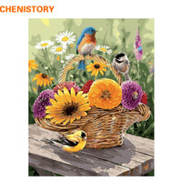 Wholesale wall baskets for flowers for sale - Group buy CHENISTORY Frameless Birds Flower Basket DIY Painting By Numbers Wall Art Hand Painted Oil Painting On Canvas For Home Decors