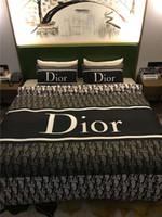 modern moda kraliçe yataklar toptan satış-Moda Letter Peinting Yatak Seti 4 Adet Modern Stil Yatak Suit Ev Nevresim Modal Kumaş Beddingset Kraliçe 200 * 230cm