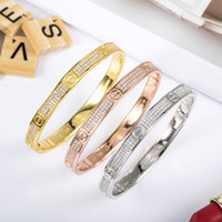 Wholesale imitation jewelry crystal box resale online - Brand Classic Plating K Gold Women Luxury Cuff Bracelet High Quality Crystal Love Bracelet Best Valentine s Day Jewelry Gift