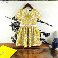 Wholesale vintage children clothing resale online - Spring Summer Kids Printed floral dresses Girl Princess vintage dress Children Sweet retail clothes