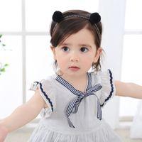 bande de fourrure bébé fille achat en gros de-bébé fille bandeaux fourrure boule dentelle bande de cheveux lapins oreilles filles coiffures cheveux