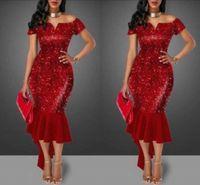 vestido de cocktail ombro ombro venda por atacado-Bainha vermelha Sexy Prom Evening Cocktail Dresses fora do ombro Decote Sem Mangas Ano Novo Sereia Celebridade Vestidos de Festa