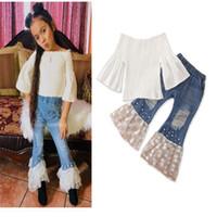 blusas de jeans de moda al por mayor-Trajes para bebés Trajes para niños Trajes para niños Ropa de diseñador para niñas Blusa blanca + Agujero Jeans Pantalones de perlas de encaje Conjuntos de moda para niñas Ropa para niños