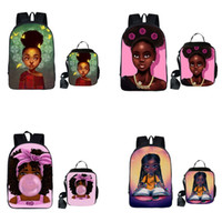 Wholesale character lunch bag for sale - Group buy Shoulders Backpacks Lunch Bag Set Design Cartoon Character Africa Multi function Lady High capacity Backpacks Kids Lunch Bags