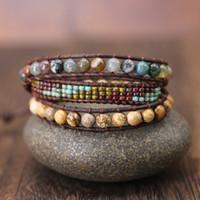 Wholesale 6mm wrap bracelet resale online - Vintage Leather Bracelets MM Stone Strands Wrap Bracelets Woven Multilayer seed beads Boho Bracelet Handmade gift Jewelry
