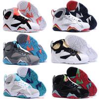 n7 basketbol ayakkabıları toptan satış-Ucuz bebek Çocuklar 7 Basketbol Ayakkabı gençlik erkek kız 7 s VII Mor UNC Bordo Olimpiyat Panton N7 Zapatos Trainer Çocuk Spor Ayakkabı Sneaker