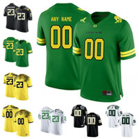 maillots de football surpiqués achat en gros de-Personnalisé Football Oregon College blanc blanc noir Pomme Vert Jaune Foudre Cousu N'importe quel Nom Nombre Mariota Herbert 2018 NCAA