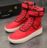 renkli üst üst spor ayakkabılar toptan satış-TANRı KORKUSU Askeri Yüksek Top Açık Çizmeler Sneakers Süet kırmızı siyah Renk eşleştirme Boot Sis Jerry Lorenzo Kanye Naylon koşu ayakkabıları 38-46