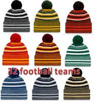 fußball winterhüte großhandel-2019 neue Ankunft Sideline Beanies Hüte American Football 32 Teams Sport Winter Side Line Strickmützen Beanie Strickmützen Drop Shippping nb001