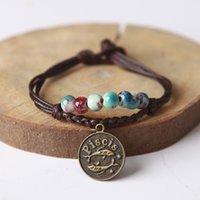 ingrosso braccialetti in ceramica di zirconia-Maxi 12 bracciali in ceramica costellazione Jingdezhen braccialetti fatti a mano per smalto fantasia intrecciati braccialetto di corda per regalo di compleanno, per la fidanzata
