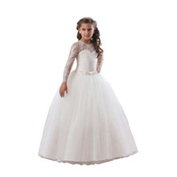 Wholesale puff bow dress for sale - Girl Dress Puff Skirt Long Sleeve Tutu Lace Mesh Princess Imported Satin Polyester Suitable For All Seasons Elegant Evening Formal Dress