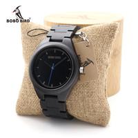 enlace reloj de cuarzo al por mayor-Venta al por mayor relojes de madera de ébano de cuarzo vestido de reloj de pulsera analógico movimiento japonés reloj con enlaces de madera en bambú