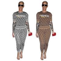conjunto de pantalones impresos de damas al por mayor-F Carta de Impresión Mujeres Chándal de Las Señoras Trajes Casuales de Verano Camiseta de Manga Corta Top Pantalones Leggings Moda de Dos Piezas Set S-3XL C444