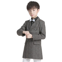 Wholesale kids wedding dresses boys for sale - Group buy Wedding Jacket For Flower Boys Kids Formal Birthday Party Blazer Pants Dress Tuxedo Children Piano Ceremony Costume