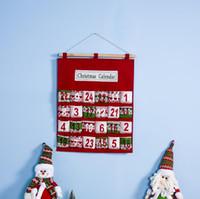 bag candy natal vermelho venda por atacado-Red Christmas Advent Calendar Wall Hanging Xmas Ornament Impressão Saco dos doces Count Down admissão sacos do presente Decoração LJJA3229