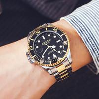 marcas famosas para hombres. al por mayor-TOP Nuevo reloj mecánico automático de los hombres de acero inoxidable a prueba de agua famoso diseñador de la marca de lujo de negocios de los hombres de negocios reloj deportivo