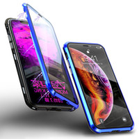 Wholesale iphone cases wine glasses online – custom Double Glass Magnetic Adsorption Metal Phone Case for iPhone Pro Max XR XS Full Coverage Aluminum Alloy Frame with Tempered Glass