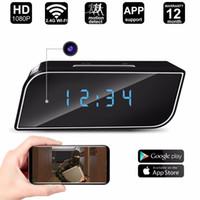 ip saatleri toptan satış-Yikacam WiFi Mini Kamera Çalar Saat HD 1080P Video Kaydedici Gece Görüş Hareket Sensörü Ev Güvenlik DVR IP Dadı Kamerası Renkli Işık