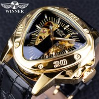 grandes montres de luxe hommes achat en gros de-Top Fashion 2019 Winner Luxury Mens Gold Watches Mécanique Creux Triangle Grand Cadran Montres Hommes Designer orologio di lusso