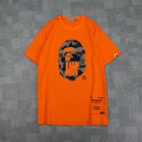 kadın turşusu gömlekler toptan satış-Yaz Erkek Kadın Siyah Beyaz Turuncu Karikatür Baskı T-Shirt erkek Rahat Gevşek Camo Kısa Kollu T-Shirt