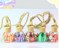 Wholesale wooden perfume bottles resale online - Mix Styles Empty Glass Perfume Car Diffuser Bottles ml Refillable Hanging Car Fragrance Bottle with Wooden Lids