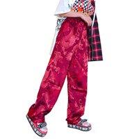 ingrosso pantaloni di raso cinesi-Pantaloni Harajuku Donna Stile Cinese Phoenix Dragon Totem Modello Pantaloni dritti in raso Unisex Hiphop Bottom Vita elastica Y19062901