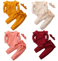 Wholesale linen sets baby girl resale online - 2019 New Autumn Spring Baby ruffle long sleeves rompers top bowknot pants bow headbands sets outfits children clothing set M768