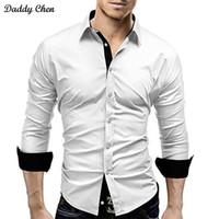 camisas casuais pretas para meninos venda por atacado-Camisa de vestido dos homens slim fit estilo masculino para meninos branco preto Casual camisa dos homens de manga longa grade de algodão designer clássico marca 4xl