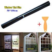 x film vinyl großhandel-50cm x 1M schwarzer Glasfenster-Farbton-Farbton-Film VLT 15% -50% Selbstauto-Haus-Rolle Neu