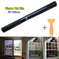 fenêtres en plastique pour voitures achat en gros de-Film de protection solaire pour fenêtre en verre noir 50cm x 1M VLT 15% -50% Auto Car House Roll Nouveau