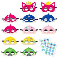 ingrosso maschera di partito animale dei bambini-Cartoon Animal Baby Shark Fox Masks Maschere per bambini Mezza maschera per il viso Eyeshade in feltro per Halloween Forniture 1 5jk E1