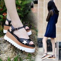 Wholesale ivory platform wedges resale online - Chaussure Femme Women Casual Stars Sandals Ankle Strap Wedges Peep Toe Slope Sandles Summer Platform Heels